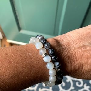Moonstone and black agate bead bracelets